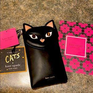 NWT Kate Spade black cat crossbody purse